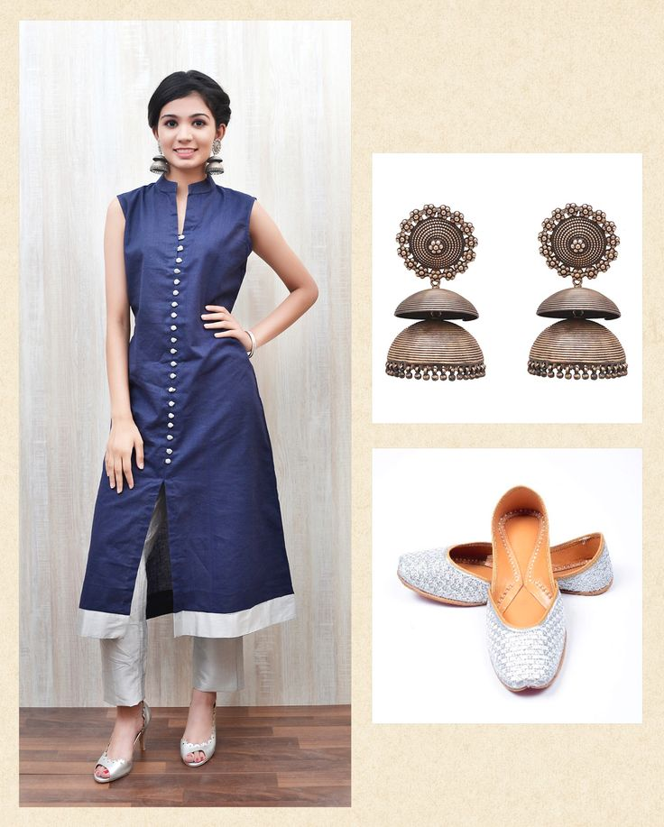 Blue Chanderi Kurta with Silver Pant & Silver Katori Jhumkis with Silver Juttis for Rs.11570 only!