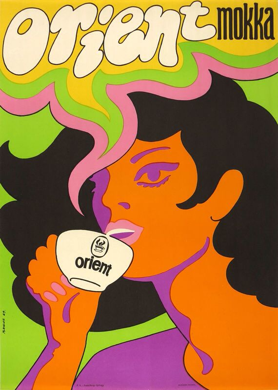 Commercial poster for the Orient coffee by Bakos Istvàn, 1969. Composition with vibrating neon colors took inspiration form the American psychedelic poster art.