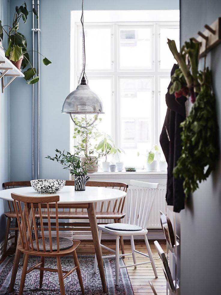 O garsonieră scandinavă plină cu idei de integrare a plantelor și florilor în decorul restrâns al locuinței.