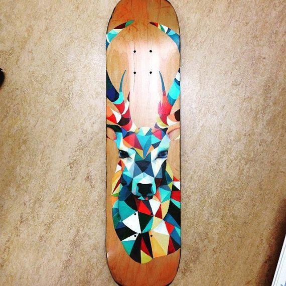 Deck de Skate personnalisé - acrylique et pastel 400$
