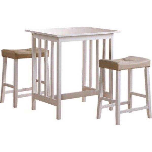 Small Dining Room Set 3-Piece Kitchen Breakfast Counter Height Table With Chairs