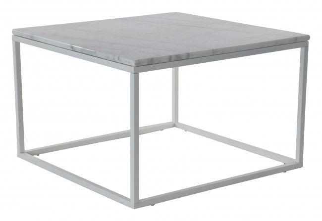 Accent soffbord marmor kvadrat, 75x75, vit/vit
