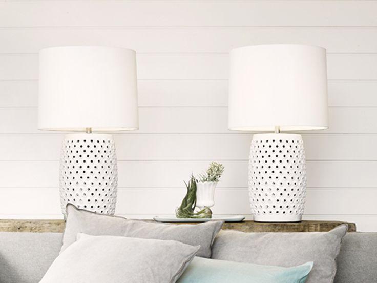 The Beacon Lighting Tatum 1 light table lamp in white with white shade.