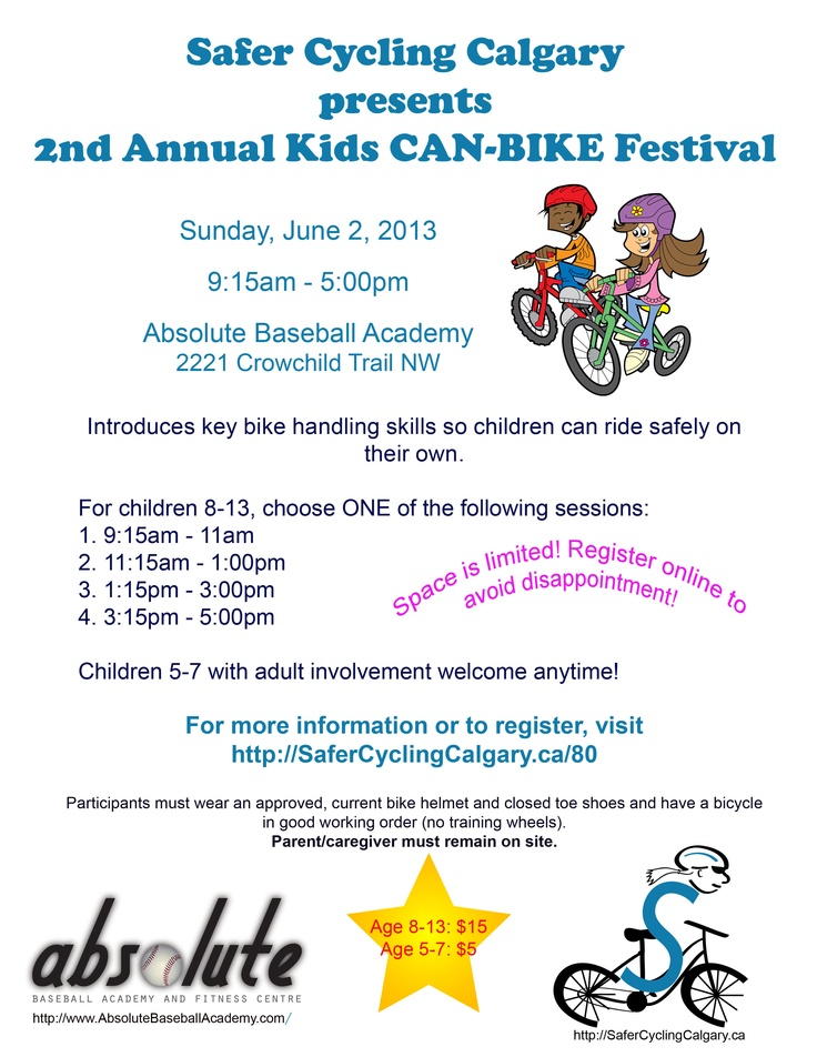 2nd Annual Kids CAN-BIKE Festival June 2 #yycbike #yycbikemonth