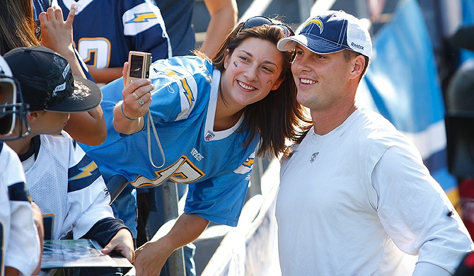 Philip Rivers And A Fan San Diego Chargers Pinterest