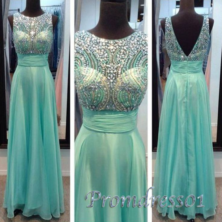 2015 elegant round neck beaded green chiffon v-back long prom dress, vintage ball dress for teens, cute bridesmaid dress, evening dress #promdress #wedding