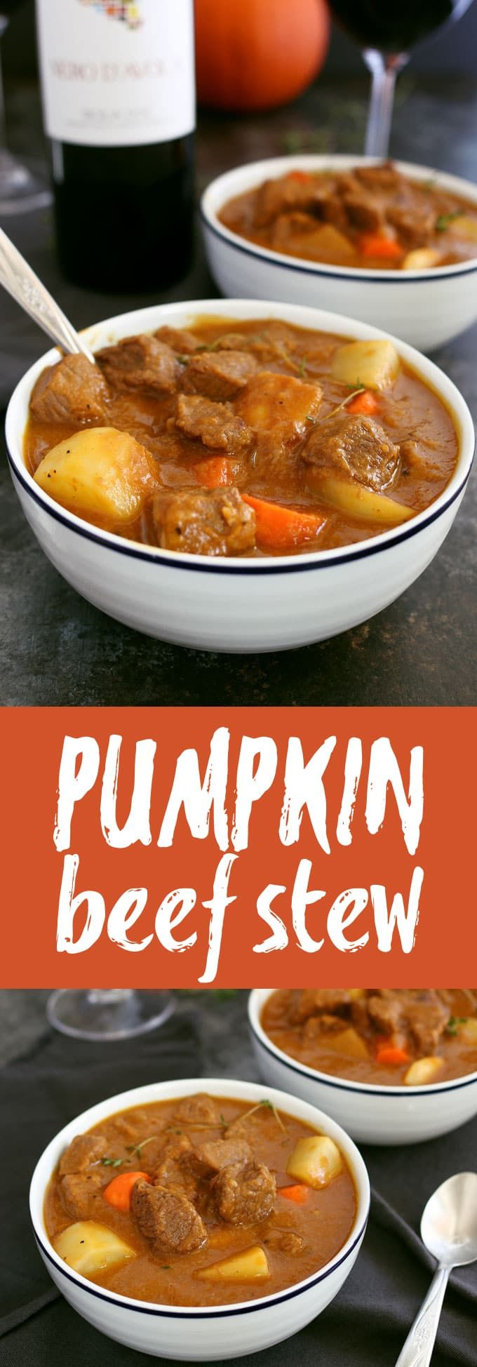 This pumpkin beef stew recipe is the perfect meal for cool autumn nights. It is savory, hearty and guaranteed to warm you up! Pair it with a glass of Nero d'Avola, one of my favorite Sicilia DOC wines. | honeyandbirch.com Sponsored