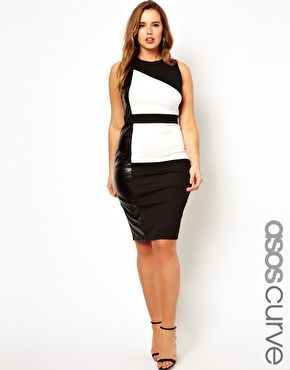 ASOS CURVE Dress In Colourblock With Leather Look Panel plus size