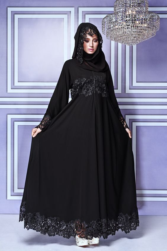4. lace style abaya and hijab for girls