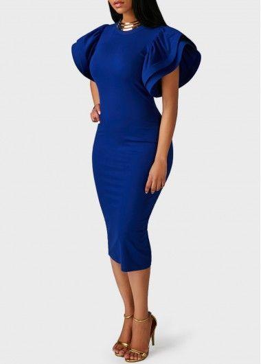 Mock Neck Cutout Back Petal Sleeve Sheath Dress