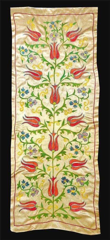 Gorgeous UZBEK Ottoman Silk Handmade Embroidery Long SUZANI V3327 | eBay