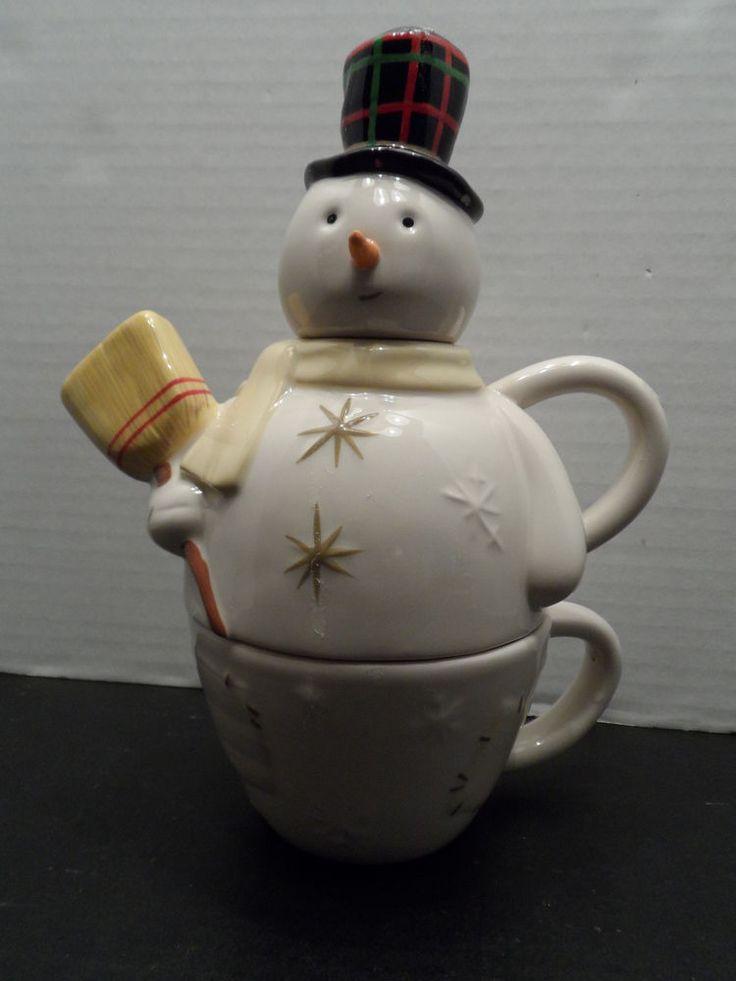 Teapot hallmark winter snowman stacking tea cup for Cup snowman