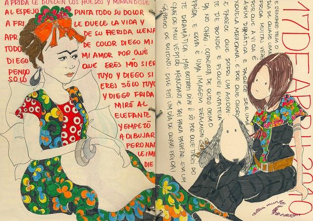 A FRIDA LE DUELE LA VIDA by Cecilia Murgel #figurative #portrait #art #journal #sketchbook
