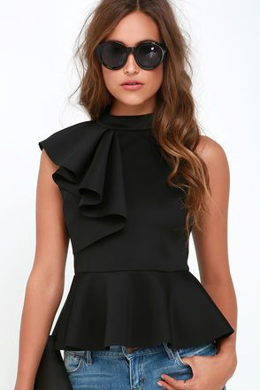 It's incredible how unforgettable you will be in the Forever More Black Peplum Top! Poly-spandex, medium-weight knit hugs your silhouette from a mock neck, through a sleeveless bodice decorated with a cascading side ruffle. A peplum tier flares from the fitted waist for a flirty finish. Exposed silver back zipper. Unlined. 95% Polyester, 5% Spandex. Hand Wash Cold. Imported.