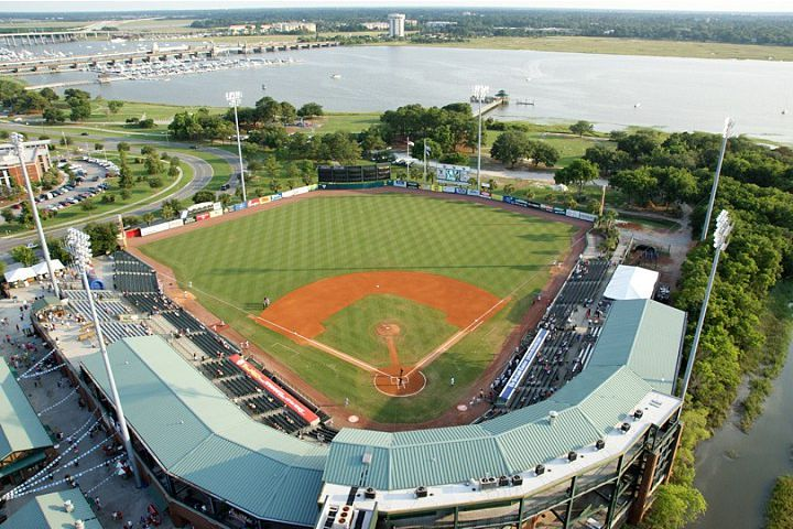 The Riverdogs Minor League Baseball Team In Charleston Their Stadium Overlooks The Ashley River Charleston Sc Vacation Baseball Park Charleston