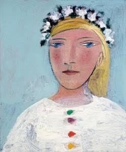 """Pablo Picasso (1881-1973) : """" Femme à la couronne de fleurs"""" , 1937 ; la modella è Marie-Thérèse Walter che conobbe il maestro a diciassette anni. Questo ritratto è stato realizzato nel 1937, in occasione del decimo anniversario del loro incontro casuale a Parigi ; all'asta da Christie's New York ,10-11-2015"""