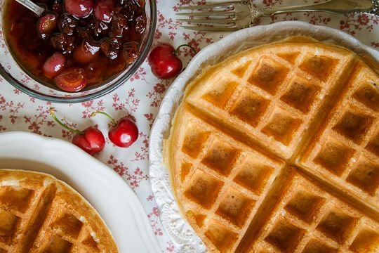 Quinoa Goat Milk Belgian Waffle with Double Cherry Maple Syrup | Reci ...