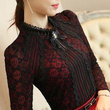 Королевский элегантных женщин рубашка 2016 весной мода дамы кружева блузка Большой размер женский кружева возглавляет новый бренд женская одежда(China (Mainland))