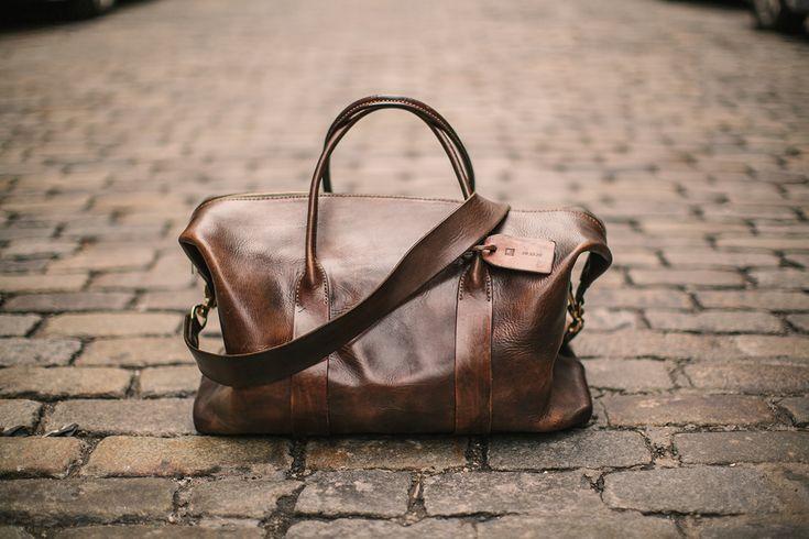 Leather weekender.