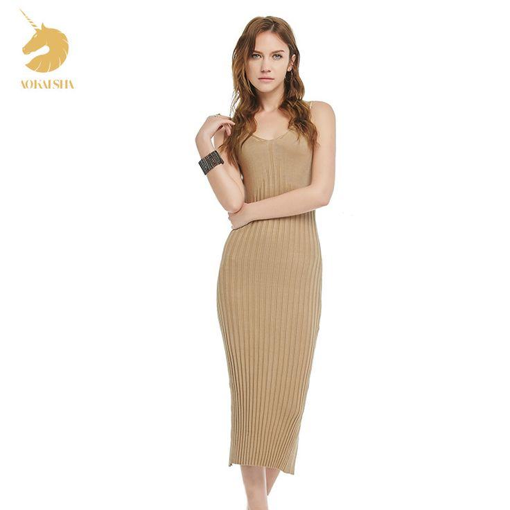 New Summer Fashion Sleeveless Sweater Women Slim Women V-neck Dress V- Collar Sexy Backless Maxi Long Sweater Dress S166048