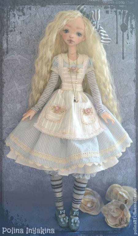 Алиса - голубой,алиса в стране чудес,алиса,кукла ручной работы,кукла,кукла в подарок
