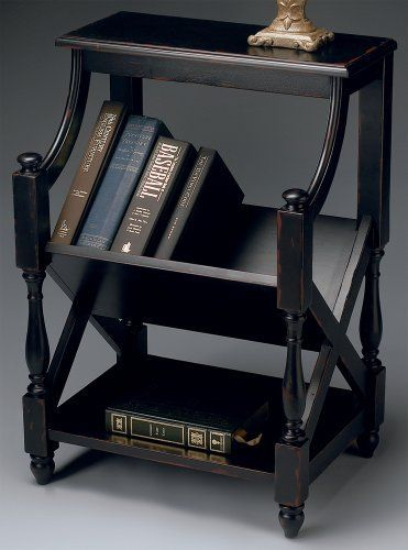 """Butler Book Table - Plum Black by Butler. $249.00. Magazine rack. Dimensions: 21""""W x 15""""D x 30""""H. Plum black finish. Weight: 35 lbs. Some assembly required. Lightly textured paint finish on selected solid woods and choice cherry veneers. # 1566136"""