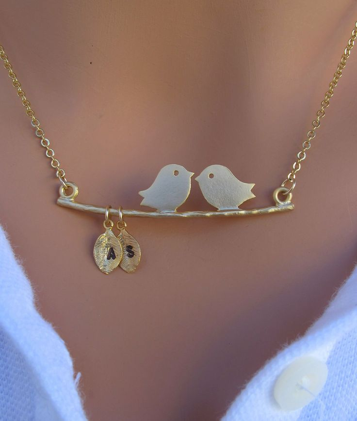 Kissing Love Birds necklace in 14k GOLD. Personalized. Initials on the Leaf. Couple. Two Love Birds. Anniversary. Marriage. Gift.. $36.00, via Etsy.