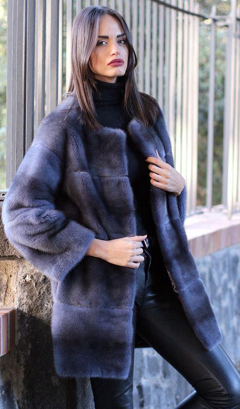 Female Mink Fur Coat with whole skins. Made in Italy. Skins Quality: Kopenhagen Fur Platinum; Color: Blue Denim; Closure: With hooks; Collar: Plat; Lining: 100% Satin; Lining Color: Fantasy, Multicolor; Length: 83 cm; #elsafur #fur #furs #furcoat #coat #mink #minkcoat #cappotto #peliccia #pellicce