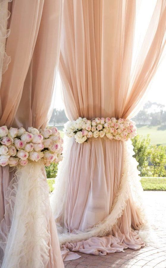 """The exact color I want for my wedding! Its a romantic colored blush. Reminds me of a """"happily ever after"""" wedding. Beautiful Wedding Decoration !"""