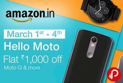 Amazon is offering Flat Rs.1000 off on Moto G & more Moto Mobile till March 4. Additional 10% Cashback from SBI Debit Card & Credit. Hello Moto, Do more while on-the-go with a Moto Smartphone. Packed with great features including shatterproof display, high-speed performance and more, the Moto range of phones are impressive Smartphones. Be a part of Moto Now and enjoy discounts on Moto G, Moto G turbo ...  http://www.paisebachaoindia.com/moto-g-more-moto-mobile-flat-rs-1000-off-amazon/