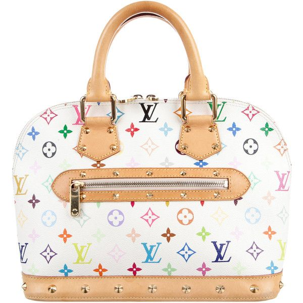 Pre-owned Louis Vuitton Multicolore Alma MM ($895) ❤ liked on Polyvore featuring bags, white, monogrammed bags, multicolor bag, louis vuitton bags, pre owned bags and zip bag