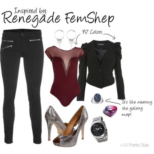 Renegade FemShep (Mass Effect Series) by ladysnip3r featuring a sleeveless blouse  Dressed like she's heading to Afterlife on Omega, this is my fashion interpretation of FemShep from Mass Effect, renegade style.