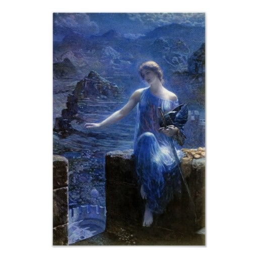 "The Valkyrie's Vigil (1906) by Edward Robert Hughes In Norse mythology, a valkyrie (from the Old Norse valkyrja, meaning ""chooser of the slain"" is one of a host of female figures who choose those who die in battle. The valkyries bring their chosen who have died bravely in battle to the afterlife hall of the slain, Valhalla, ruled over by the god Odin, where the deceased warriors become einherjar. There, when the einherjar are not preparing for the events of Ragnarök,  valkyries bear them…"