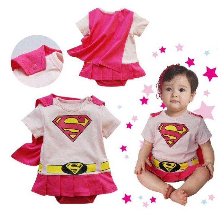 Bebek kız Supergirl superman Romper kısa Sleeve Toddlers 2PCS Giyim Seti Cadılar Bayramı Noel Kostüm Yaz Sonbahar Ücretsiz Gemi $7.90