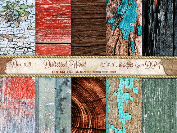 Distressed Wood Digital Paper Wood Scrapbooking by DreamUpGraphic