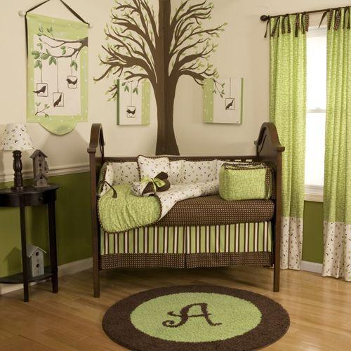 Braun Lindgrün Babyzimmer Einrichten-Gardinen Baum-bemalen Babybett