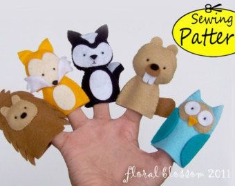 Digital Pattern: Halloween Friends 02 Felt Finger por FloralBlossom