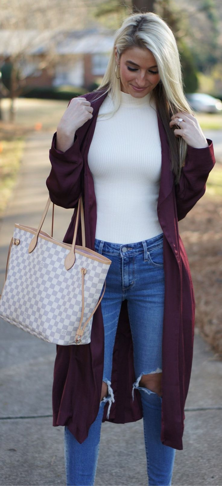 Burgundy Coat / White Turtleneck / Destroyed Skinny Jeans/ White & Grey Checked Tote Bag