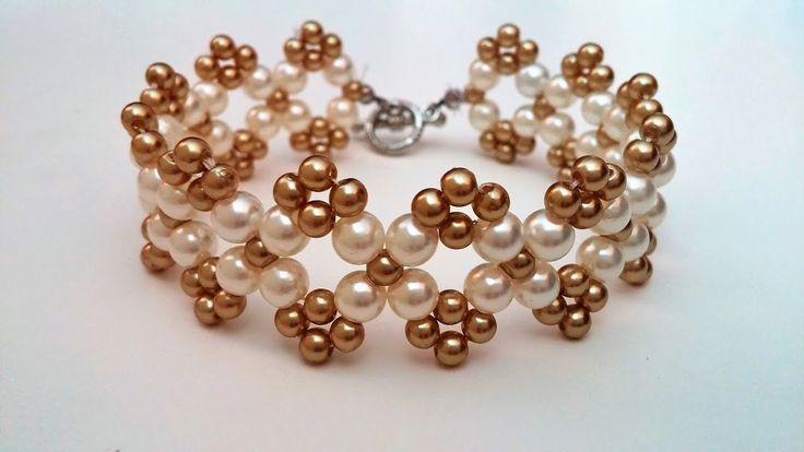 Easy beaded bracelet pattern. How to make bracelet using 2 sizes of pea...