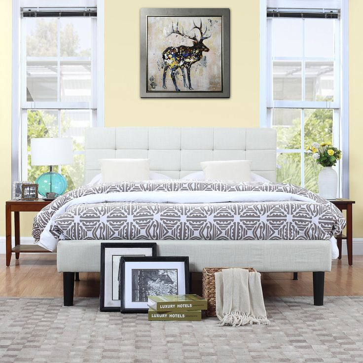Classic Deluxe Ivory Linen Low Profile Platform Bed Frame With Tufted  Headboard Design (Euro King