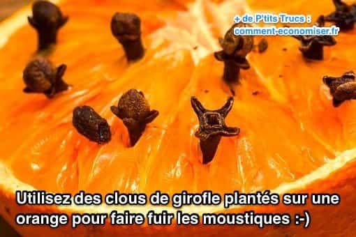 Inutile de sortir les insecticides bourrés de produits nocifs ! Heureusement, il existe un truc naturel pour vous débarrasser des moustiques facilement. L'astuce est de piquer des clous de girofle dans une orange !  Découvrez l'astuce ici : http://www.comment-economiser.fr/que-faire-contre-moustiques-voici-repulsif-maison-efficace.html?utm_content=buffer67f53&utm_medium=social&utm_source=pinterest.com&utm_campaign=buffer