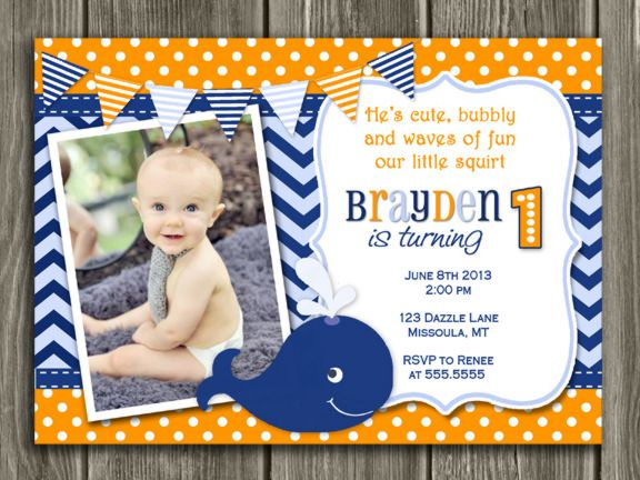 Printable Boys Preppy Whale Birthday Invitation - 1st Birthday ...