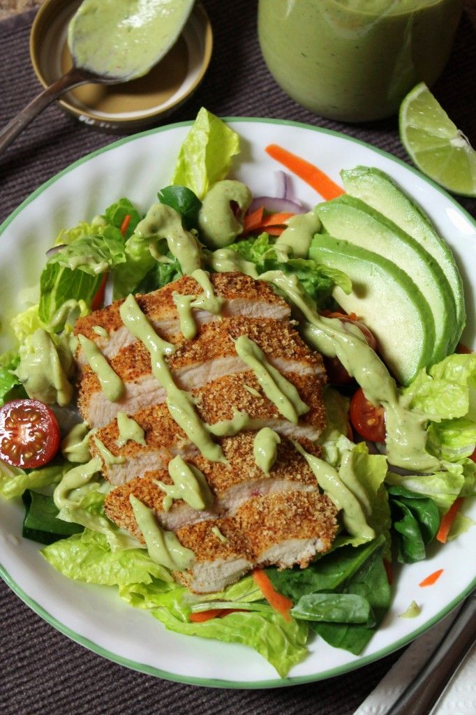 Southwestern Oven-Fried Chicken Salad with Avocado Dressing - The Spiffy Cookie