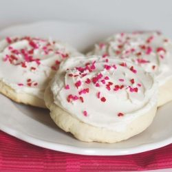 Soft frosted sugar cookies (similar to Lofthouse brand in store bakeries).