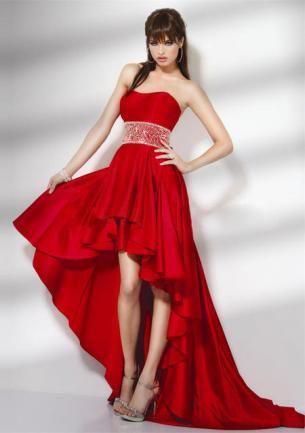 Vestidos de fiesta cola de pato rojo 2