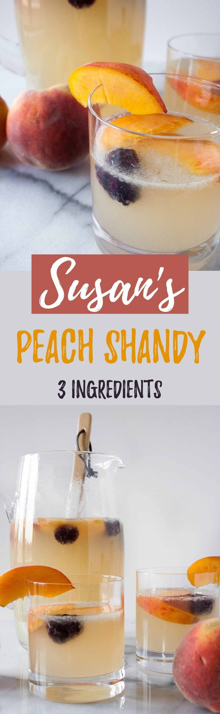 Susan's Peach Shandy | KOVAL Distillery, Susan for President, Peach Brandy, peach punch recipe, party, cocktail recipe, ginger beer, lemonade, shandy punch | hungrybynature.com