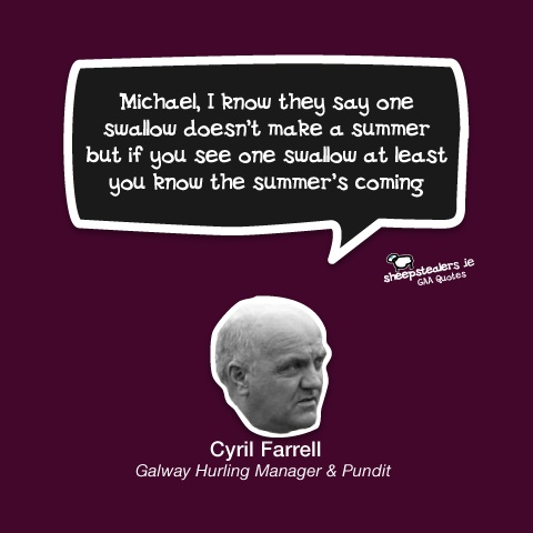 Michael, I know they say one swallow doesn't make a summer but if you see one swallow at least you know the summer's coming. - Cyril Farrell Galway
