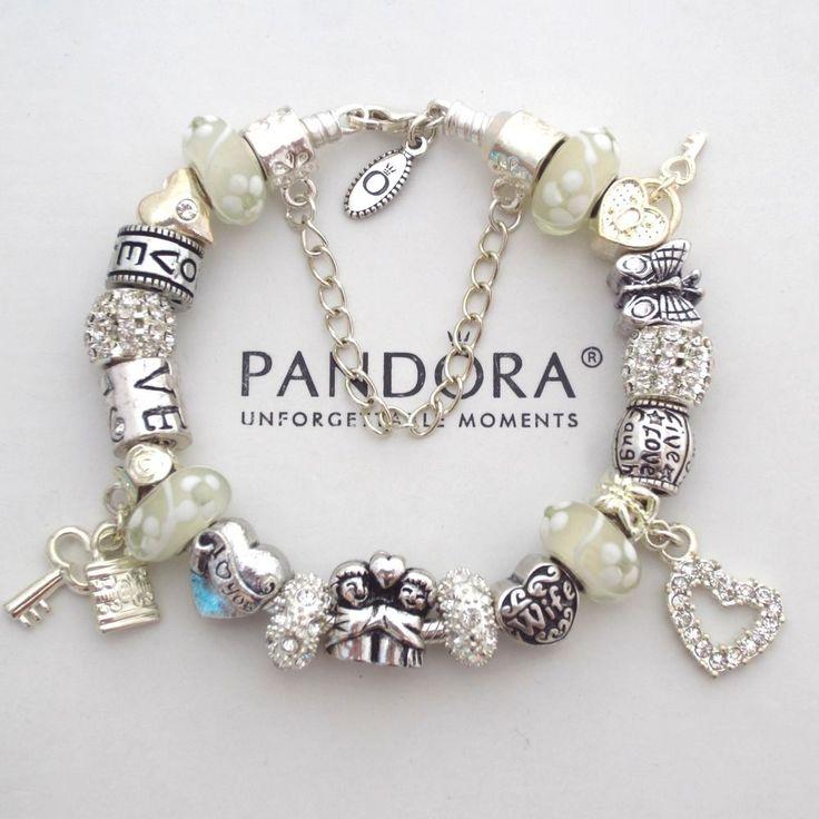 pandora bracelet white wedding anniversary hugging