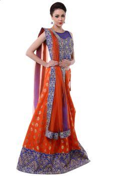 Banarsi Brocade Orange Zari Embroidery Lehenga- Banarsi Brocade Orange Zari Embroidery Lehenga
