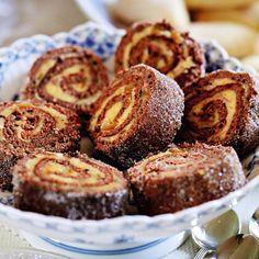 Rulltårta med apelsinsmörkräm & choklad